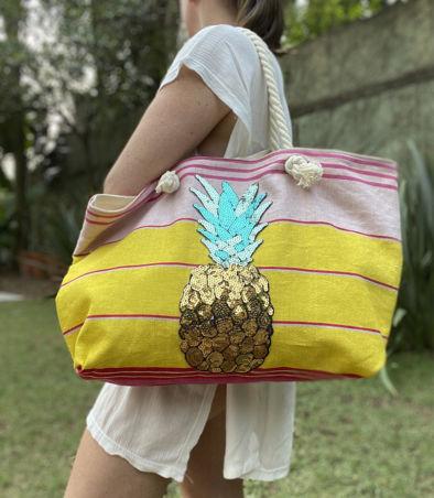 bolsa lona abacaxi modelo